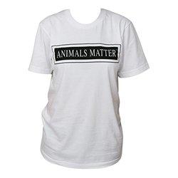 Animals Matter Crew Neck T-Shirt, X-Large, White