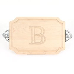 "BigWood ""B"" Letter Cutting Board & Maple Wood Serving Tray"