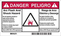 """Brady B302 3.5x6"""" Flash and Shock Self Sticking Polyester Safety Sign"""