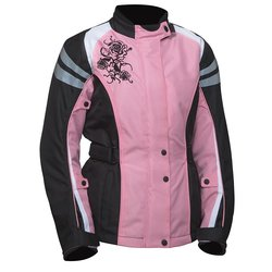 Bilt Connie Women's Waterproof Motorcycle Jacket - Pink/Black - Size: L
