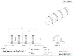 "Burndy 3.86""L Hylink High Voltage Copper Compression Splice w/ Center Plug"