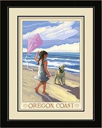 "20x26"" Oregon Coast Girl Dog Beach Framed Wall Art by Joanne Kollman"