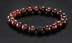 Red Tiger Eye Men's Natural Healing Stone Stretch Bracelet