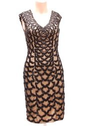 Sue Wong Sleeveless Lace Overlay Dress - Black/Nude - Size: 4