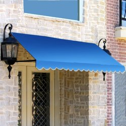 "Awntech? 5' Dallas Retro? Window/Entry Awning, 24"" x 42"", Bright Blue"