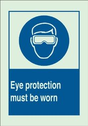 """Brady 10x14"""" Eye Protection Must Be Worn w/ Picto Plastic Protection Sign"""