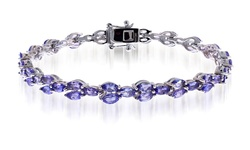 10.00 Tanzanite Bracelets in Sterling Silver - Size: 7.5""
