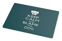 Rikki Knight Keep Calm and Blame The Dog Large Glass Cutting Board - Green