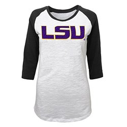 NCAA Boys Juniors 0-17 LSU Tigers 3/4 Scoop Raglan Tee - Size: Large