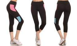 Esty Women's Capri Color Block Legging - Pink - Size: Medium