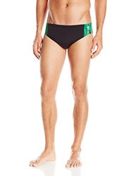 TYR SPORT Men's Phoenix Splice Racer Swimsuit (Black/Green, Size 34)