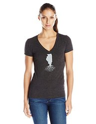 WYR Clothing Women's Illinois V-Cut Stock Tee, Vintage Black, Large