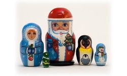 "Golden Cockerel 5-Piece 3.5"" Christmas Russian Nesting Doll"