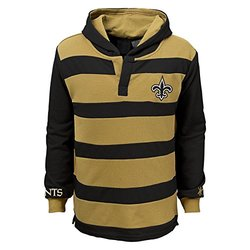 NFL New Orleans Saints Youth Boys 8-20 Long Sleeve Striped Hoodie, Youth Small (8), Black/Boulder