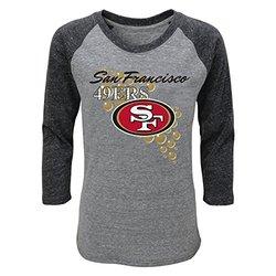 NFL Youth Girls 7-16 San Francisco 49ers Tee - Grey Heather - Large (14)