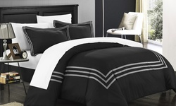 Chic Home 3-Piece Paige Contemporary Duvet Set - Red - Size: Queen