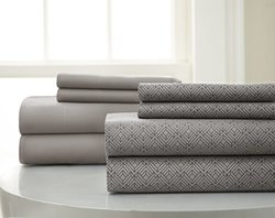 8-Piece Set Diamond Printed Sheet: Dark Grey/King