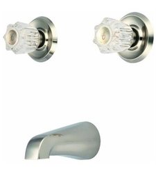 Aviditi Olympia Two Acrylic Handle Tub Set Brushed Nickle