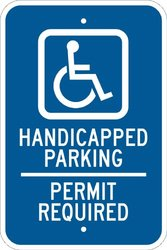 """Brady 91334 Premium Fiberglass Handicapped Sign, 18"""" X 12"""", Legend """"Handicapped Parking Permit Required (with Picto)"""""""