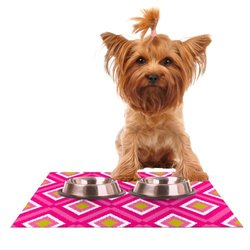 """Kess InHouse Nicole Ketchum """"Moroccan Hot Pink Tile"""" Feeding Mat for Pet Bowl, 24 by 15-Inch"""