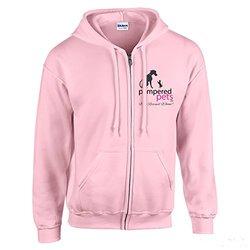 Pampered Pets Women's Full Zip Hoodie Sweatshirt - Light Pink - Size: XL