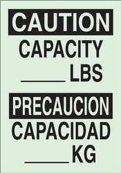 "Brady 90744 Glow-In-The-Dark Plastic Glow-In-The-Dark Safety Sign, 14"" X 10"", Legend ""Capacity __Lbs/Capacidad ___Kg"""