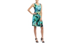 Mlle Gabrielle: Sleeveless Floral Fit and Flare Dress - Multi - Size: XLarge