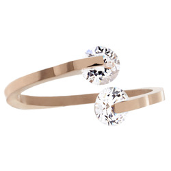 West Coast Rose Gold Plated CZ Bypass Ring - Stainless Steel - Size: 9