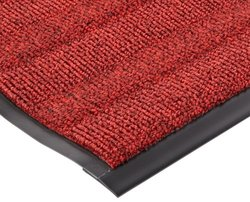 "Notrax Vinyl 139 Boulevard Entrance Mat, for Upscale Entrances, 3' Width x 5' Length x 3/8"" Thickness, Red/Black"