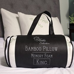 Sweet Home Collection Hypoallergenic Bamboo Memory Foam Pillow with Carry Bag (1 Pack), King