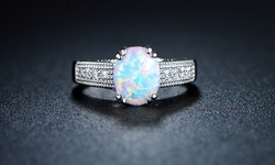 2.00 CTW Lab Created Opal Engagement Ring 18K White Gold Plating - Sz: 7