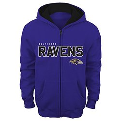 "NFL Baltimore Ravens 4-7 ""Stated"" Full Zip Hoodie, Rav Purple, Small"