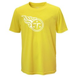 NFL Tennessee Titans Boys Performance Tee - Neon Yellow - Size: Medium