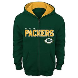 "NFL Green Bay Packers 4-7 ""Stated"" Full Zip Hoodie, Small, Hunter"