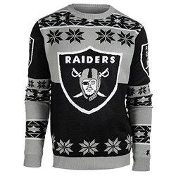 NFL Oakland Raiders Youth Boys 8-20 Long Sleeve Ugly Sweater, Youth Large (14/16), Black/Grey