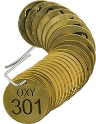 """Brady  87492 1 1/2"""" Diameter, Stamped Brass Valve Tags, Numbers 301-325, Legend """"OXY"""" (Pack of 25 Tags)"""