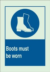 """Brady 90720 Glow-In-The-Dark Plastic Brady Glo Personal Protection Sign, 10"""" X 14"""", Legend """"Boots Must Be Worn (with Picto)"""""""