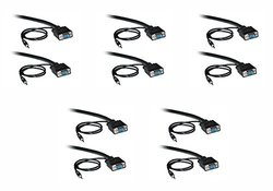 C&E 10 Feet HD15 Male hielded SVGA Cable - Pack of 5 - Black (CNE501494)