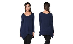 Women's Draped Jersey Tunic Top - Navy - Size: Medium