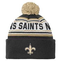 New Orleans Saints Youth Cuffed Knit Hat w/ Pom pom