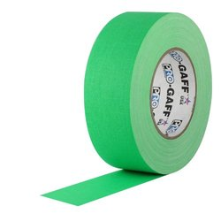 "3"" Width ProTapes Pro Gaff Premium Matte Cloth Gaffer's Tape With Rubber Adhesive, 50 yds Length x, Fluorescent Green (Pack of 16)"
