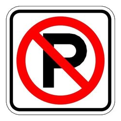 "Brady 115520 Parking Sign, R8-3A, Symbol, 24"" x 24"", Red/White"