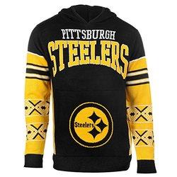 NFL Pittsburgh Steelers Youth Boys 8-20 Long Sleeve Hooded Sweatshirt, Youth Small (8), Black