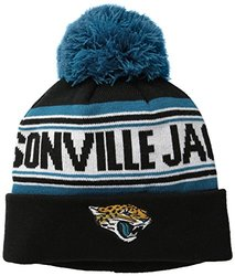 NFL Jacksonville Jaguars Youth 8-20 Cuffed Knit Hat with Pom, Youth One Size, Black