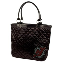 NHL New Jersey Devils Sport Noir Quilted Tote Purse, Black
