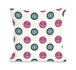 "Bentin Home Decor Anchor Wheel Polka Dot Throw Pillow by OBC, 16""x 16"", White/Pink/Blue"