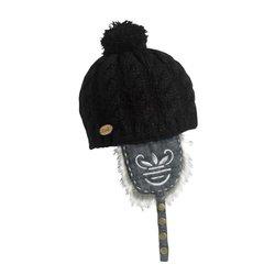 Women's Dolly Dagger Faux Fur Knit Earflap Pom Hat - Black - Size: One