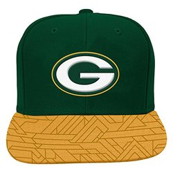 NFL Green Bay Packers Boys 8-20 Flat Visor Snap Back, One Size, Hunter