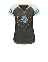 NFL Miami Dolphins Women's Raglan Split Neck T-Shirt - Multi - Size: S