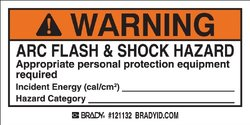 "Brady Vinyl Film 2""x4"" ""Warning"" Arc Flash & Shock Labels"